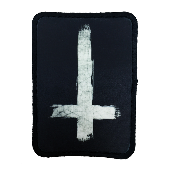 Inverted Cross Iron-On Patch - UNMASKED Horror & Punk Patches and Decor