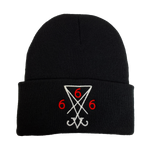 Sigil of Lucifer Embroidered Beanie - UNMASKED Horror & Punk Patches and Decor