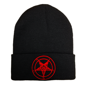 Pentagram Embroidered Beanie - UNMASKED Horror & Punk Patches and Decor