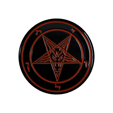 Pentagram Black & Red Enamel Pin - UNMASKED Horror & Punk Patches and Decor