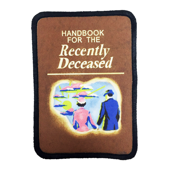 Handbook for the Recently Deceased Iron-On Patch - UNMASKED Horror & Punk Patches and Decor