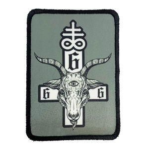 Satanic Cross Iron-On Patch - UNMASKED Horror & Punk Patches and Decor
