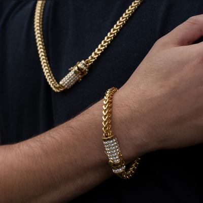 8mm Gold Franco Bracelet