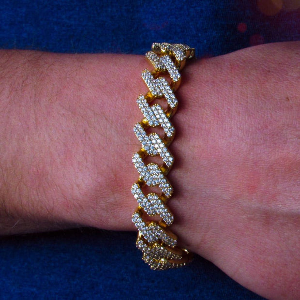 14mm Gold Diamond Prong Cuban Bracelet