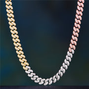 12mm Tri-Colored Diamond Cuban Chain