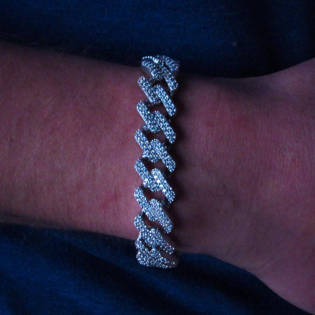 14mm White Gold Diamond Prong Cuban Bracelet