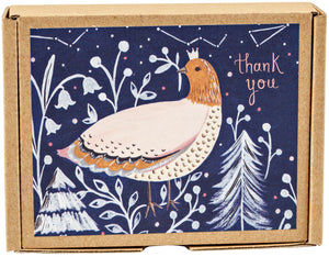 Winter Bird GreenThanks Thank You notecards in an eco-friendly package