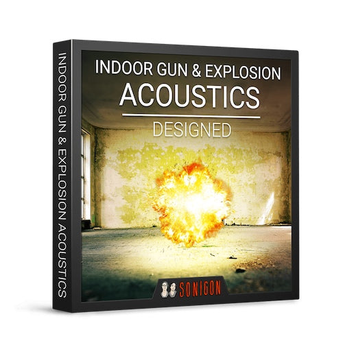 Sonigon Indoor Gun & Explosion Acoustics Designed Sound Effects Library Audio Post Production SFX Game Field Recording