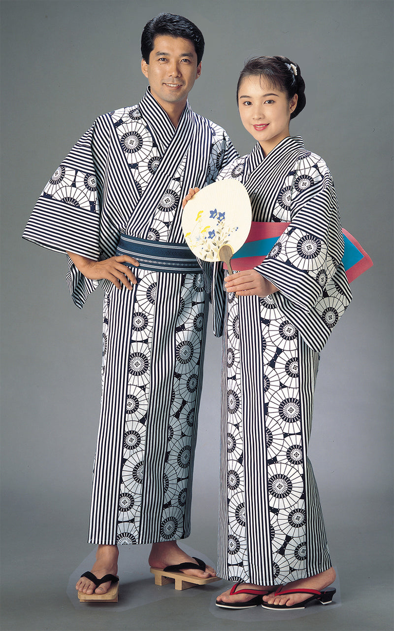 Yukata style Wagasa image of men and women