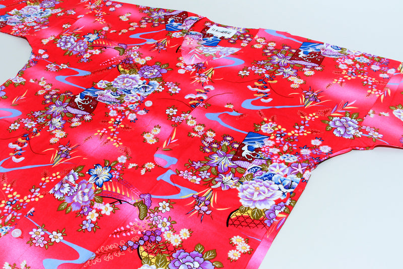 Koikuchi shirt Red Flower design