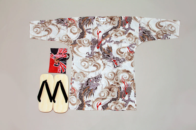 Koikuchi style White Dragon for Men
