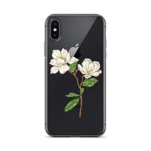 Magnolia Flower Print iPhone X/XS Phone Case