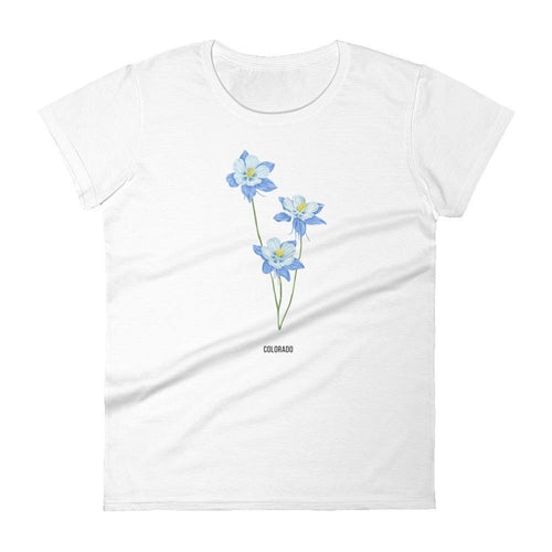 State Flower Shop COLORADO Blue Columbine Flower Shirt