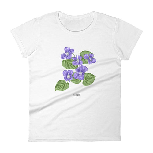 State Flower Shop T-Shirt ILLINOIS Wood Violet Shirt