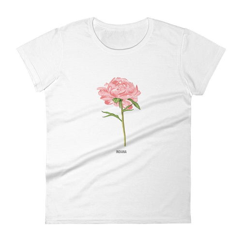State Flower Shop T-Shirt INDIANA Peony Shirt (Baby Pink)