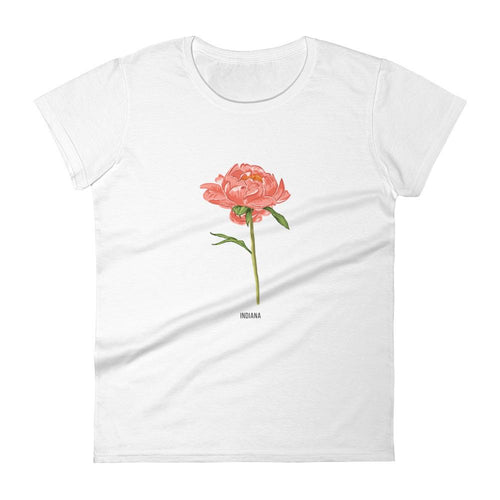 State Flower Shop T-Shirt INDIANA Peony Shirt (Coral)