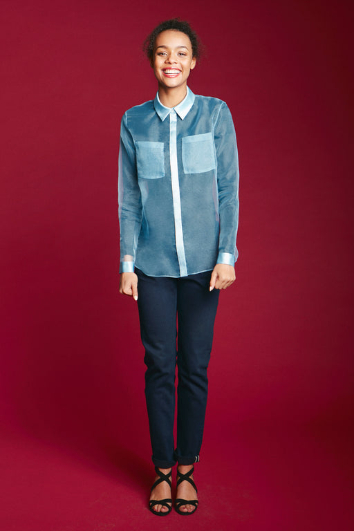 See-trough straight shirt front