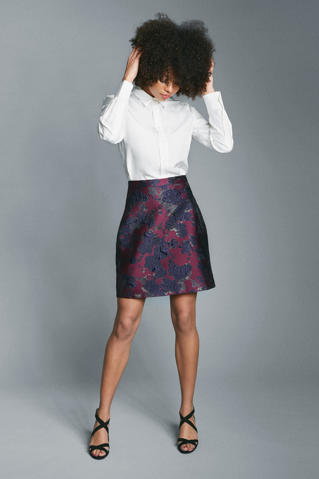 Knee-length A-line skirt front