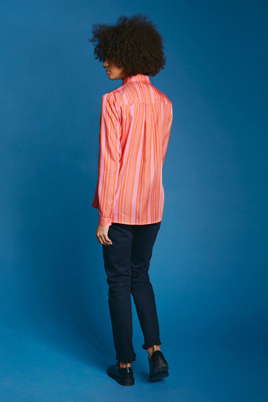 Casual straight shirt orange pink back