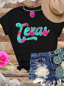 Floral on Turquoise Texas Tee