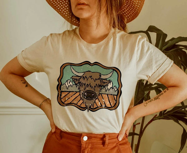 Highland Cow Mountains Tee