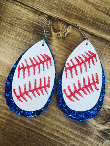 Blue Glitter Baseball Earrings