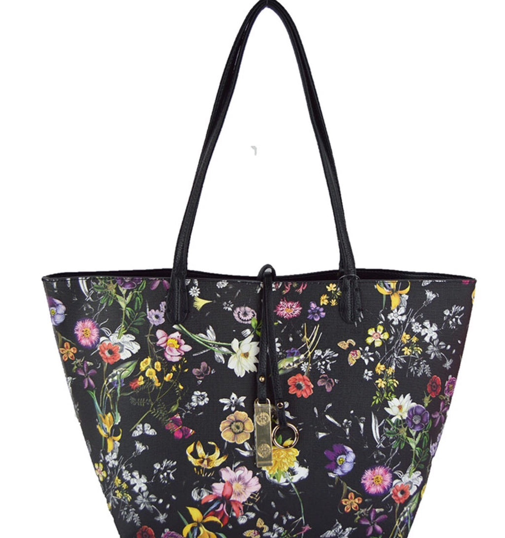 Reversible Tote-Floral/Black