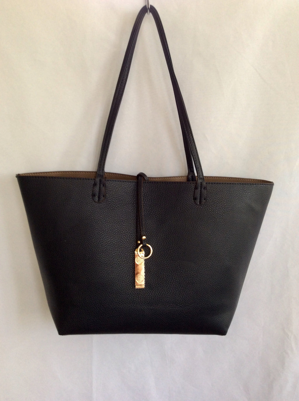 Reversible Tote-Black/Taupe