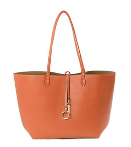 Reversible Tote-Orange/Tan