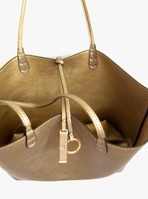 Reversible Tote-Bronze/Dark Gold