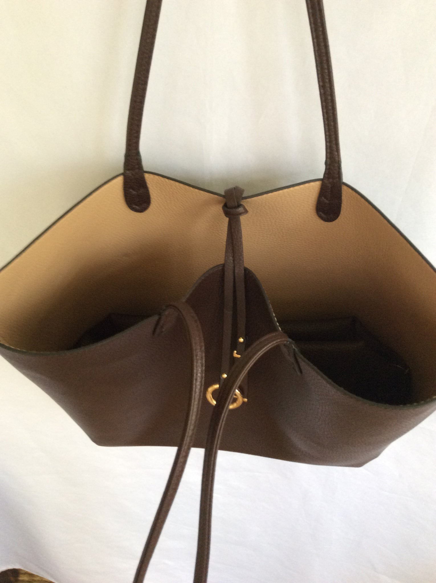 Reversible Tote-Dark Brown/Camel