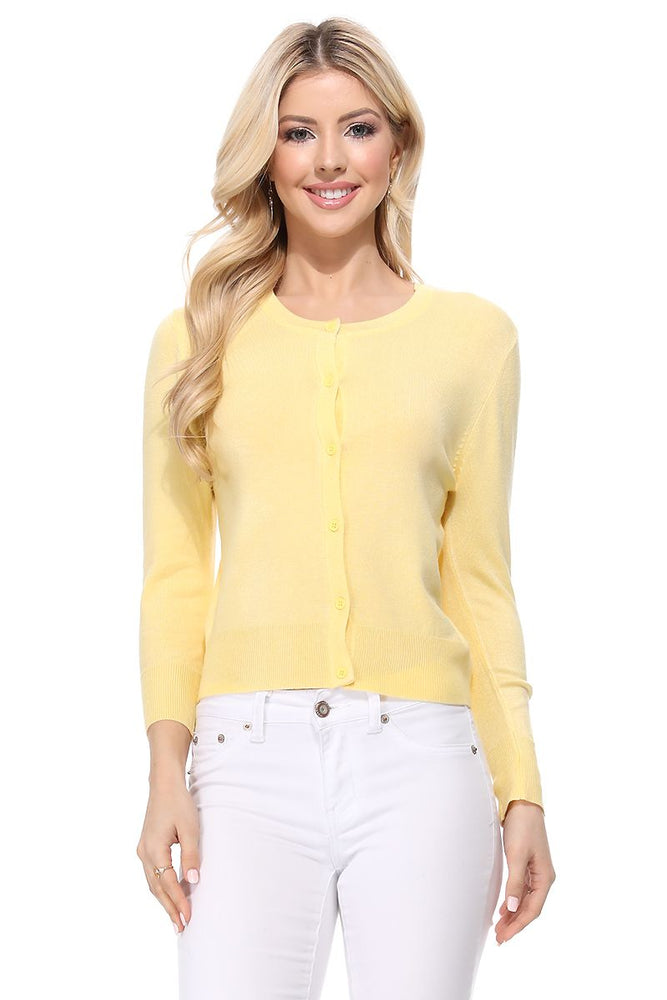 YEMAK Women's 3/4 Sleeve Crewneck Casual Stretchy Button Down Cardigan Sweater MK3554 (S-L)