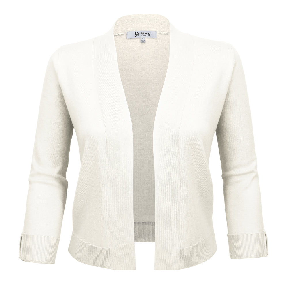 Women's 3/4 Sleeve Bolero Style Crop Cardigan MK3558 (S-L) - Yemak Sweater