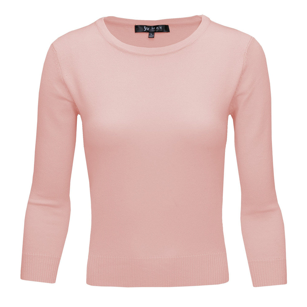 Blush Pink Slim Fit Pullover Sweaters