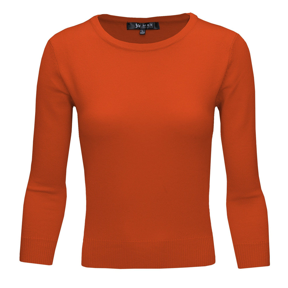 Dusty Orange Slim Fit Pullover Sweaters