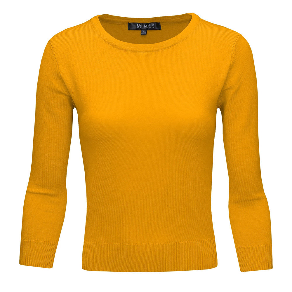 Honey Yellow Slim Fit Pullover Sweaters