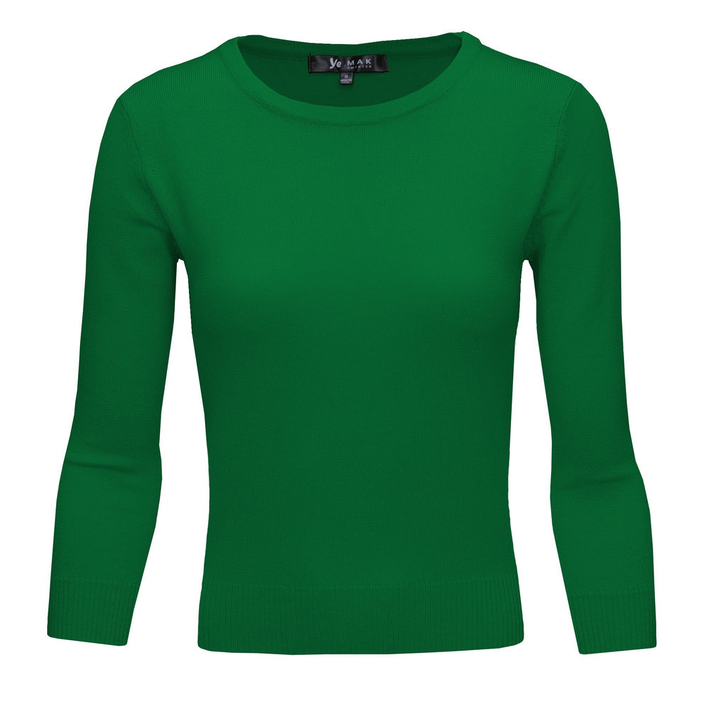 Kelly Green Slim Fit Pullover Sweaters