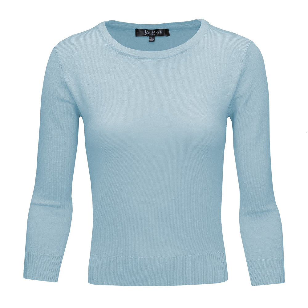 Light Blue Slim Fit Pullover Sweaters