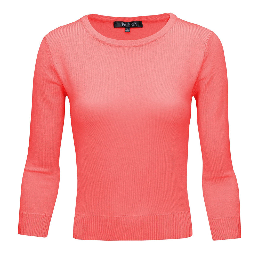 Pink Slim Fit Pullover Sweaters