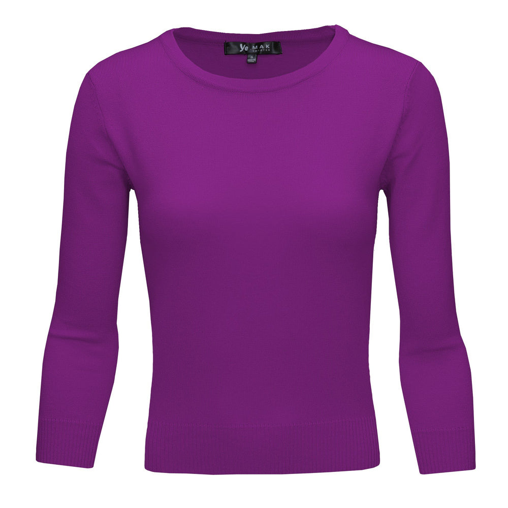Purple Slim Fit Pullover Sweaters