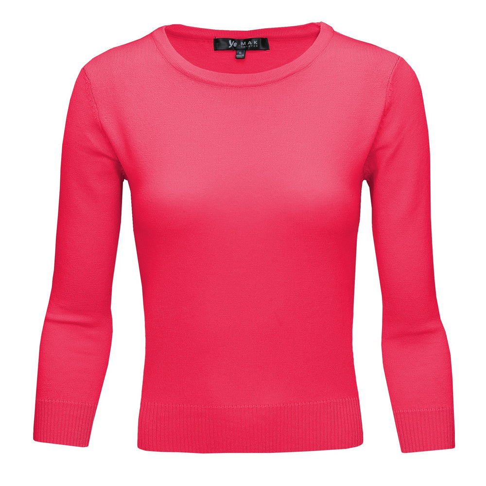 Rose Pink Slim Fit Pullover Sweaters