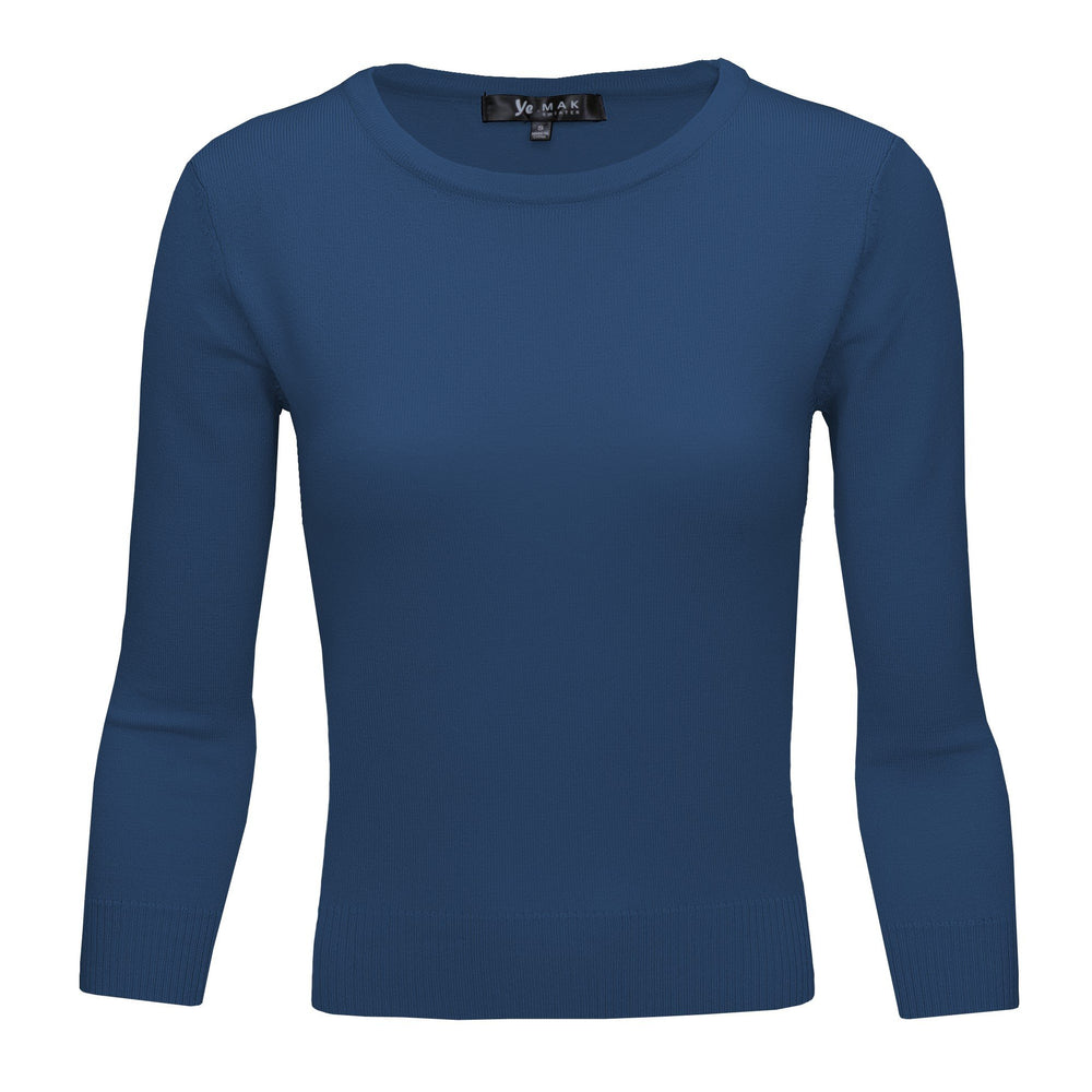 Teal Blue Slim Fit Pullover Sweaters