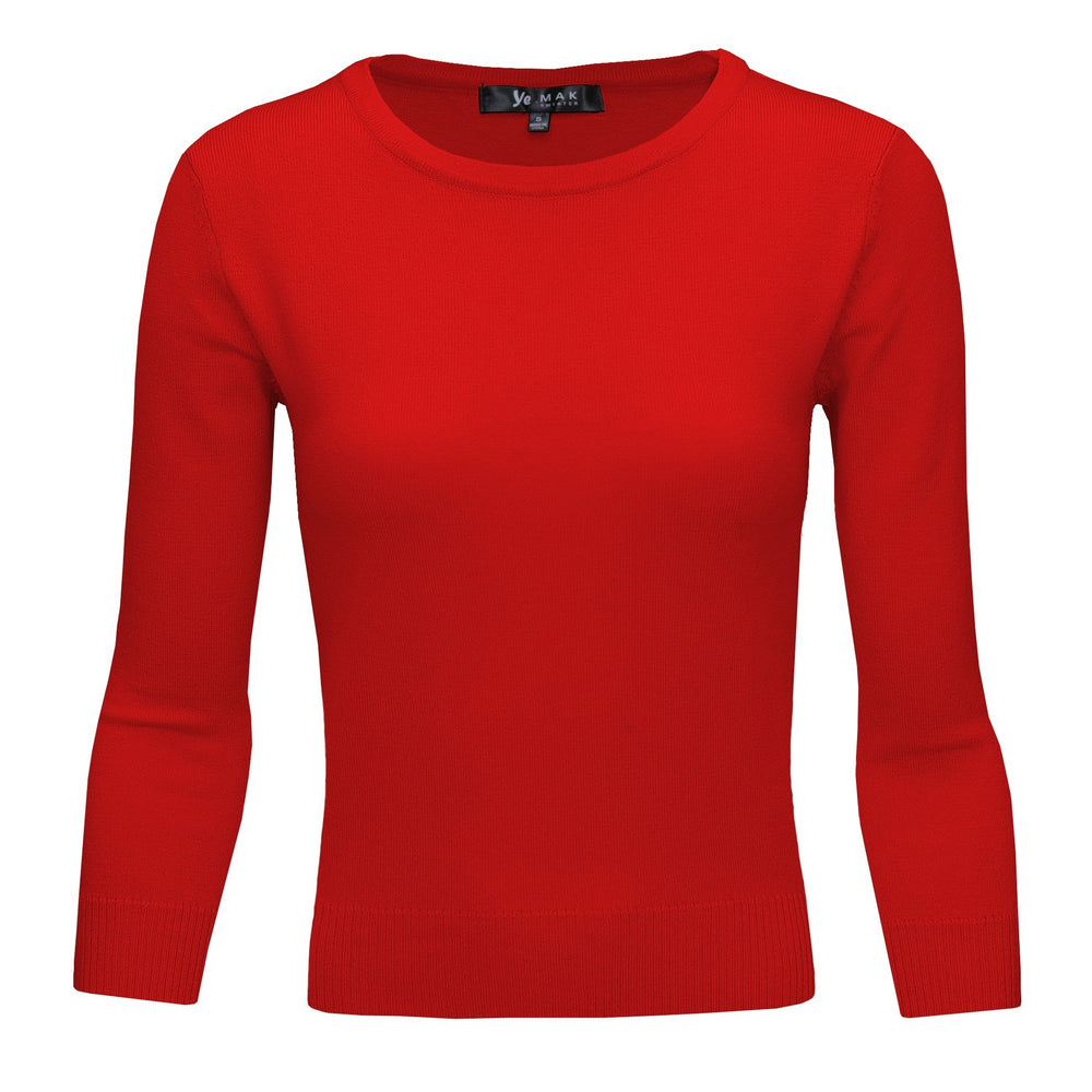 Tomato Red Slim Fit Pullover Sweaters