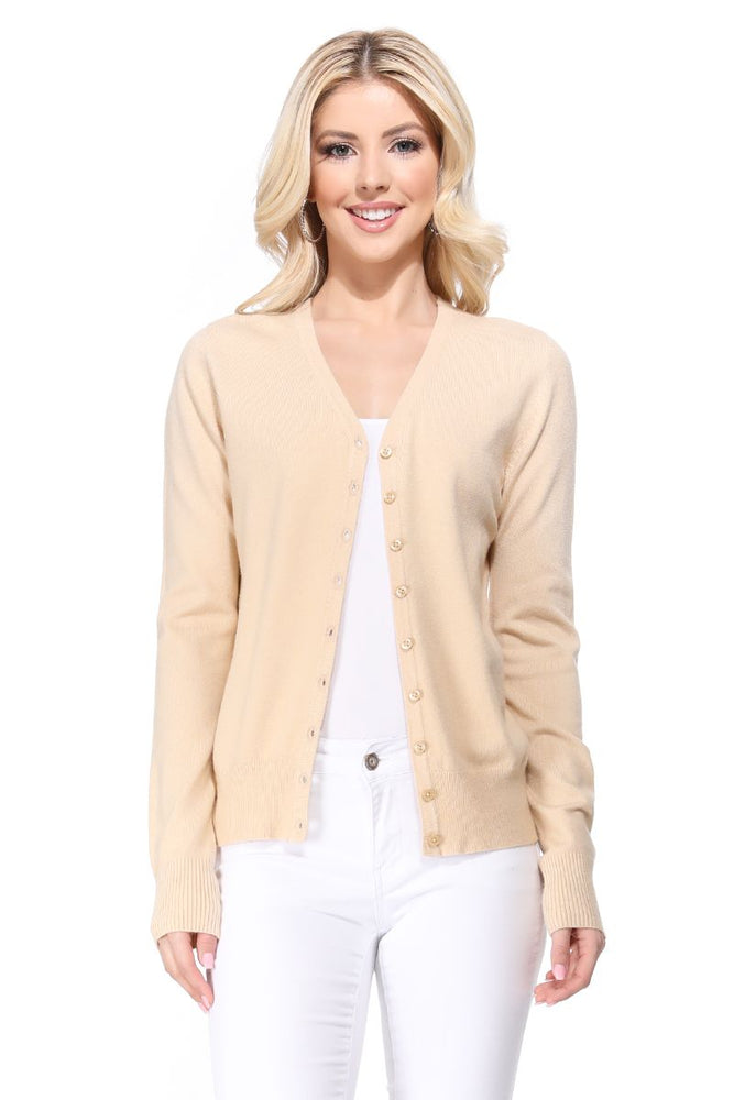 YEMAK Women's Long Sleeve V-Neck Button Down Soft Knit Cardigan Sweater MK5178 (S-XL)