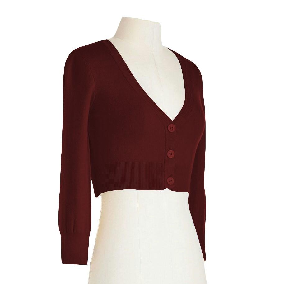 Women's Cropped 3/4 Sleeves Cardigan Sweater Inspired Pinup CO129PL (1X-4X)PLUS size Color(1 of 2) - Yemak Sweater
