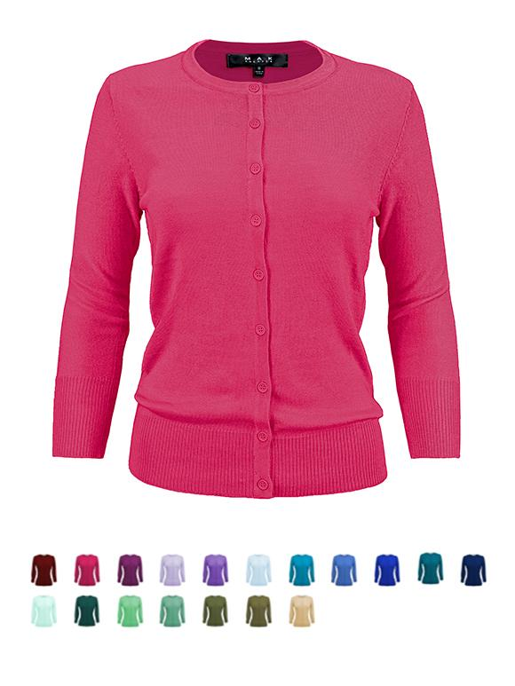 Womens Crewneck Button Down Knit Cardigan Sweater Inspired CO079PL PLUS size(1X-3X) Color(2 of 2) - Cardigans-Sweaters