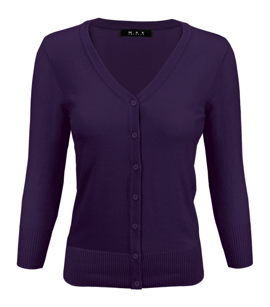 Womens V-Neck Button Down Knit Cardigan Sweater Vintage Inspired CO078 (S-L) Color Option (1 of 2) - Cardigans-Sweaters
