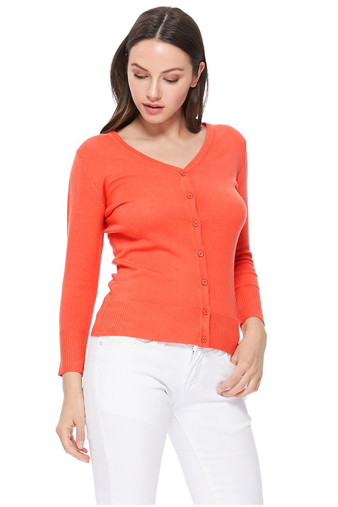 YEMAK Women's 3/4 Sleeve V-Neck Button Down Cardigan Sweater CO078 (S-L) Color Option (1 of 2)