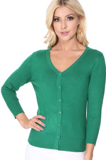 YEMAK Women's 3/4 Sleeve V-Neck Cardigan Sweater CO078PL (1X-3X) PLUS size Option (1 of 2)