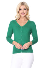 YEMAK Women's 3/4 Sleeve V-Neck Cardigan Sweater CO078PL (1X-3X) PLUS size Option (2 of 2)